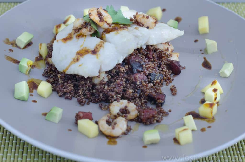 hake with red quinoa avocado and tomato