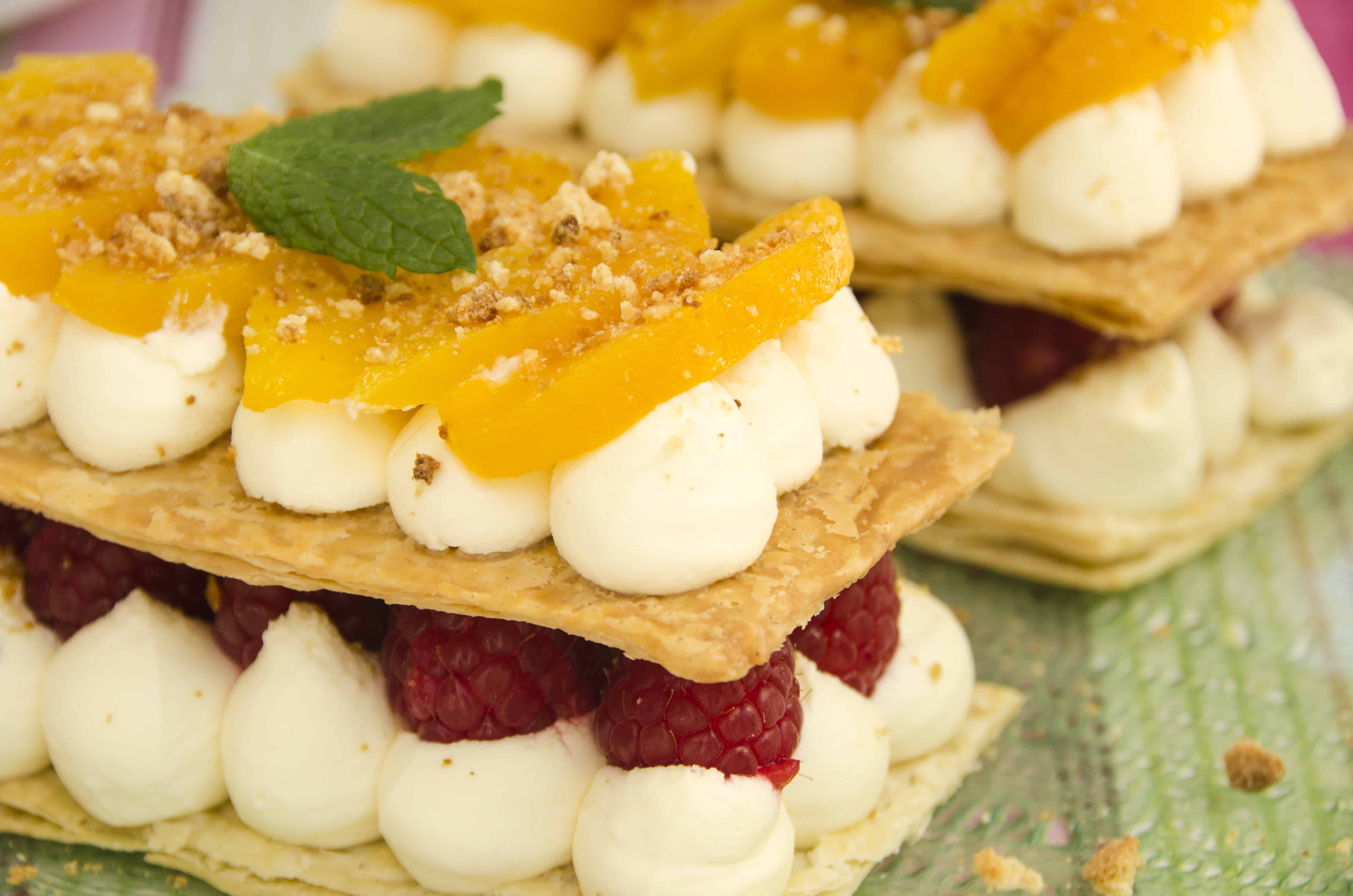 peach melba mille feuille with marscapone cream, peaches and raspberries