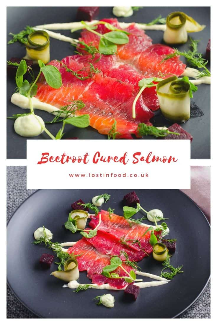 Two images of a plate of sliced beetroot cured salmon, horseradish cream, cubed cooked beetroot, rolled pickled cucumber and fresh herbs, separated by a narrative that states Beetroot cured salmon.