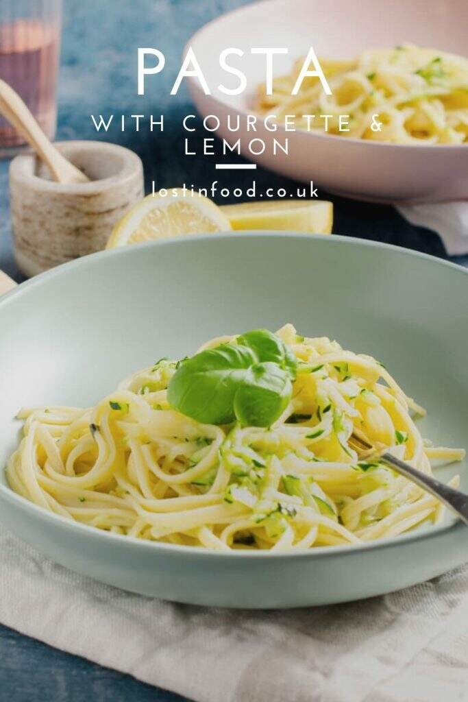 A large bowl of linguine with courgette and lemon